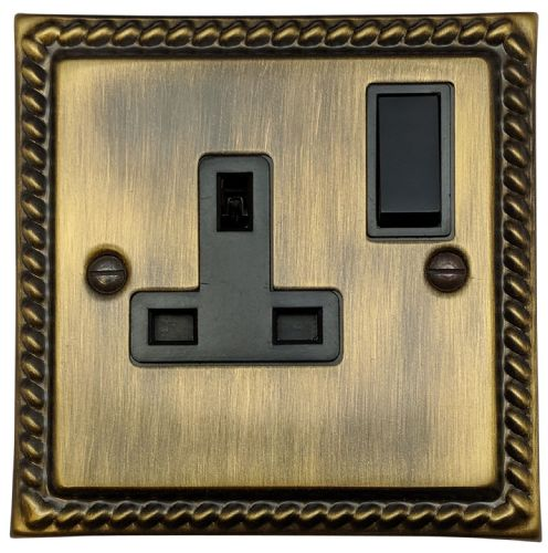 G&H MAB9B Monarch Roped Antique Bronze 1 Gang Single 13A Switched Plug Socket